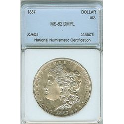 1887 MORGAN SILVER DOLLAR NNC MS62 DMPL