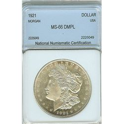 1921 MORGAN SILVER DOLLAR NNC MS-66 DMPL
