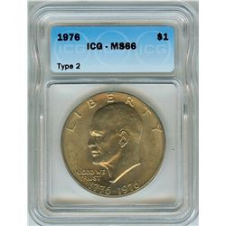 1976  EISENHOWER DOLLAR - TYPE 2 - ICG MS66