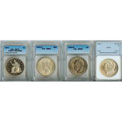1882-O $1 NNC MS64, 1922-S $1 ICG MS62,1978-D $1 ICG MS65 + INDIAN PRINCESS PRIVATE MINT $1