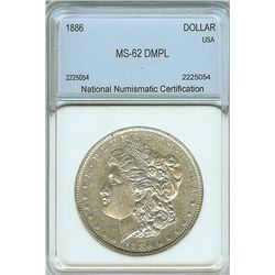1886 MORGAN SILVER DOLLAR NNC MS-62 DMPL