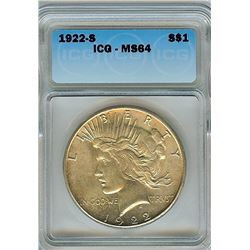 1922-S PEACE SILVER DOLLAR  ICG MS64