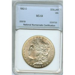 1882-O MORGAN SILVER DOLLAR  NNC MS64