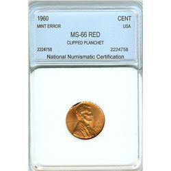 1960 LINCOLN CENT CLIPPED PLANCHET MINT ERROR  NNC MS66 RED