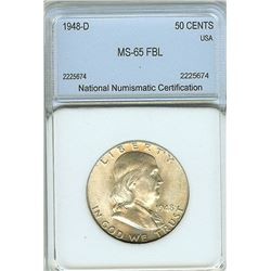 1948-D FRANKLIN SILVER 50 CENTS  NNC MS65 WITH FULL BELL LINES