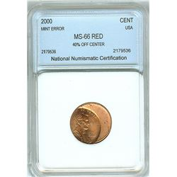 2000 LINCOLN CENT 40% OFF CENTER MINT ERROR  NNC MS66 RED
