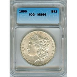 1890 MORGAN SILVER DOLLAR  ICG MS64