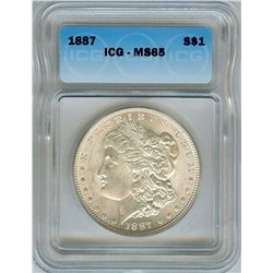 1887 MORGAN SILVER DOLLAR  ICG MS65