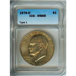 1976-D IKE EISENHOWER TYPE 1 DOLLAR  ICG MS65