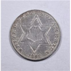 1858 TYPE-2 3-CENT PIECE, XF