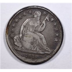 1839-O NO DRAPERY SEATED HALF DIME, AU