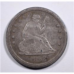 1858 SEATED LIBERTY QUARTER, XF/AU