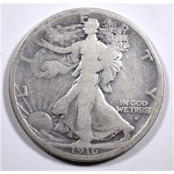 1916-S WALKING LIBERTY HALF DOLLAR,  GOOD  KEY DATE