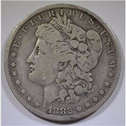 1882-O/S MORGAN SILVER DOLLAR, VF/FINE