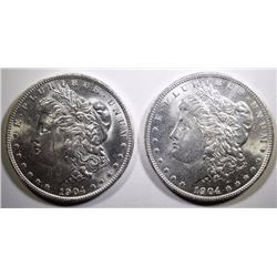 ( 2 ) 1904-O MORGAN SILVER DOLLARS, CHOICE BU