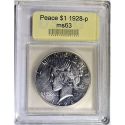 1928 PEACE SILVER DOLLAR USCG GRADED BU