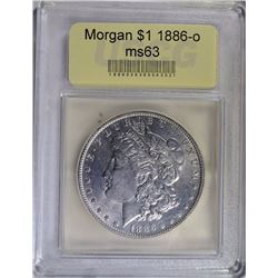 1886-O MORGAN SILVER DOLLAR USCG GRADED CH BU