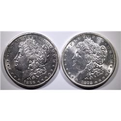 2 MORGAN SILVER DOLLARS: 1878-S CH BU & 1886-S AU/BU WITH RIM ISSUES