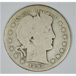 1892-O BARBER HALF DOLLAR AG/G  KEY COIN