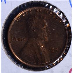 1941 LINCOLN WHEAT CENT GEM RED PROOF