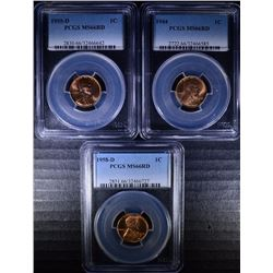 LOT OF ( 3 ) PCGS GRADED MS-66 RED LINCOLN CENTS: 1944, 55-D & 58-D