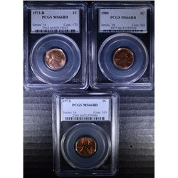 LOT OF ( 3 ) PCGS GRADED MS-66 RED LINCOLN CENTS: 1973,  1973-D, 1989