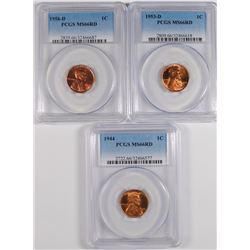 1944, 1953-D & 1956-D LINCOLN CENTS PCGS MS-66 RED