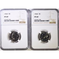 ( 2 ) 1964 JEFFERSON NICKELS, NGC PF-69