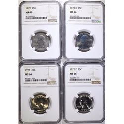 1972-D, 1978, 1978-D & 1979 WASHINGTON QUARTERS, NGC MS-66