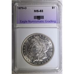 1879-O MORGAN SILVER DOLLAR, ENG CHOICE BU