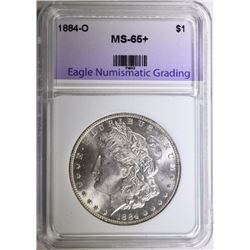 1884-O MORGAN SILVER DOLLAR, ENG GEM BU+