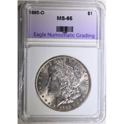 1885-O MORGAN SILVER DOLLAR, ENG GEM BU