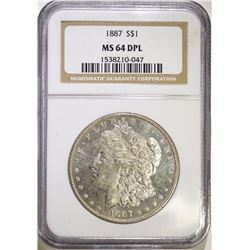 1887 MORGAN SILVER DOLLAR, NGC MS-64 DPL