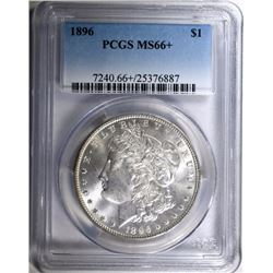 1896 MORGAN SILVER DOLLAR, PCGS MS-66+  BIG MONEY IN MS-67!