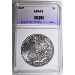 1902 MORGAN SILVER DOLLAR, ENG GEM BU