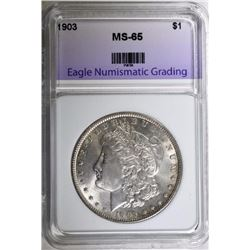 1903 MORGAN SILVER DOLLAR, ENG GEM BU