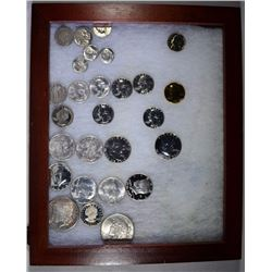 WOODEN DISPLAY OF COINS, MOSTLY  SILVER: SEE PICTURES