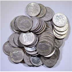 $5.00 FACE VALUE SILVER ROOSEVELT  DIMES: 1964 AND EARLIER