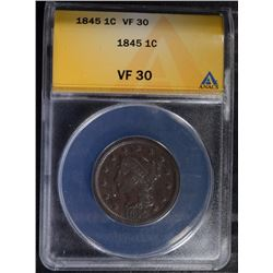1845 LARGE CENT - ANACS VF 30