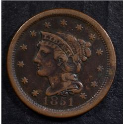 1851 LARGE CENT - XF