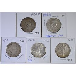 HALF DOLLAR LOT - 1901 BARBER AG, 1943 WALKING LIB UNC, 1945 WALKING LIB XF/AU,