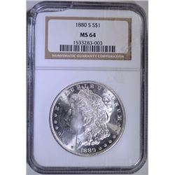 1880-S MORGAN SILVER DOLLAR - NGC MS 64 cracked case