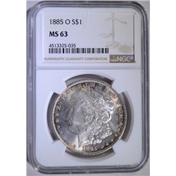 1885-O MORGAN SILVER DOLLAR - NGC MS 63