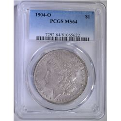 1904-O MORGAN SILVER DOLLAR - PCGS MS64