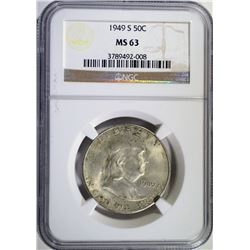 1949-S FRANKLIN HALF DOLLAR, NGC MS-63