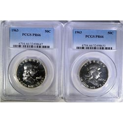 2 - 1963 FRANKLIN HALF DOLLARS PCGS PROOF 66!