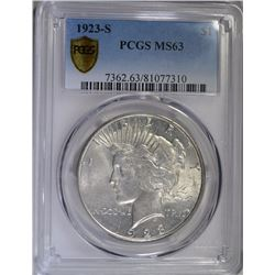 1923-S PEACE SILVER DOLLAR - PCGS MS63