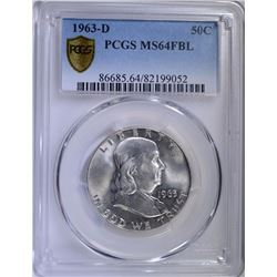 1963-D FRANKLIN HALF DOLLAR - PCGS MS64FBL