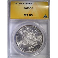 1879-S MORGAN SILVER DOLLAR - ANACS MS 65