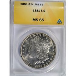 1881-S MORGAN SILVER DOLLAR - ANACS MS 65
